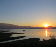 Sun is setting over the Koycegiz Lake