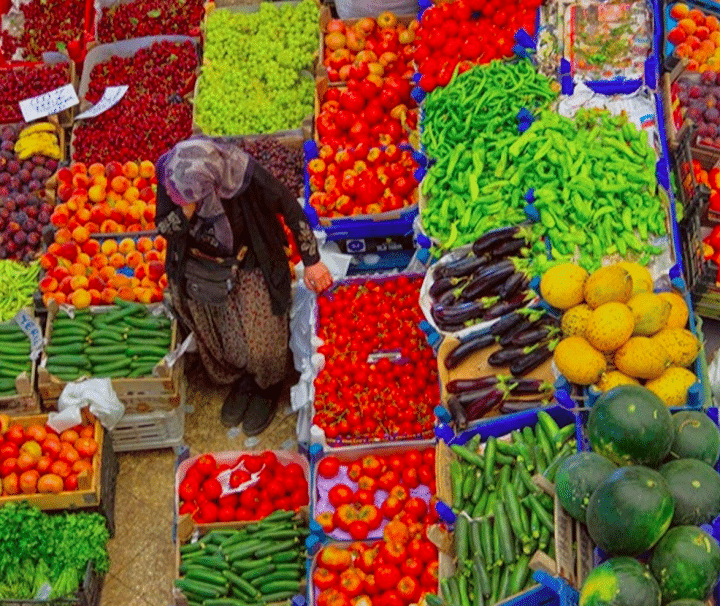 Koycegiz Market Colourful Vegetables And Fruits