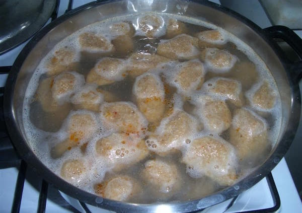 boiling the Kibbah Meatballs