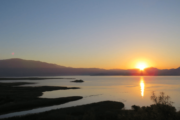 Sun is setting over the Koycegiz Lake
