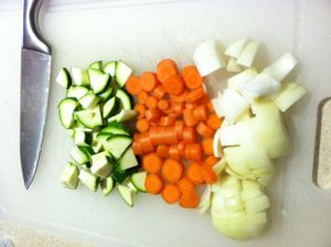Persian soup. chopped-vegetables