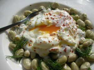 Broad Beans - With yoghurt and poached egg