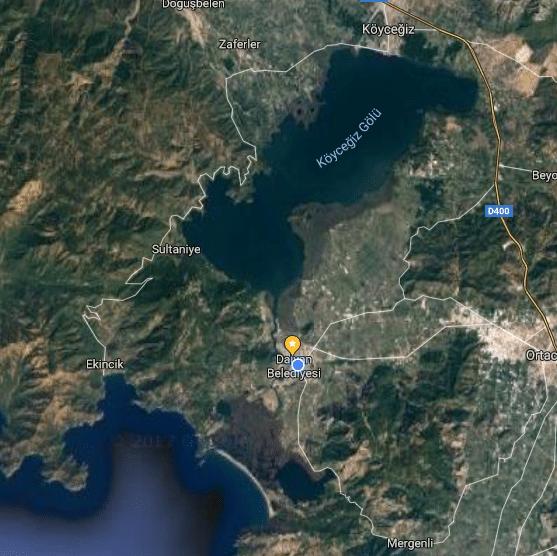 Dalyan - Koycegiz Lake - Caunos Map