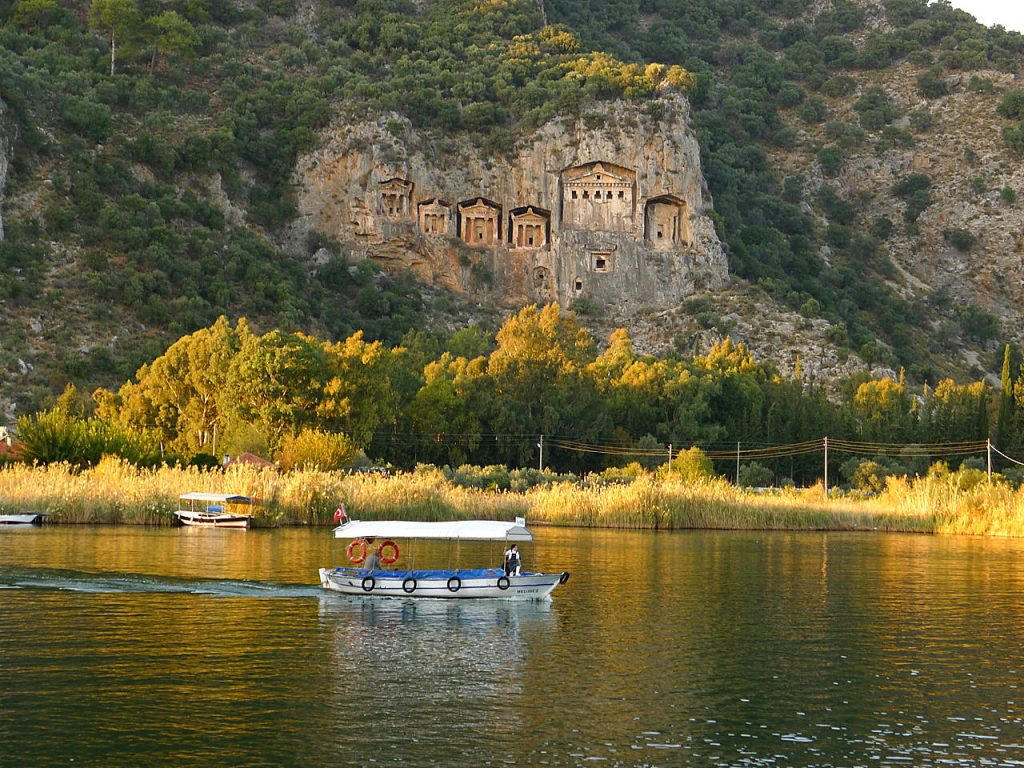 rock tombs view with river