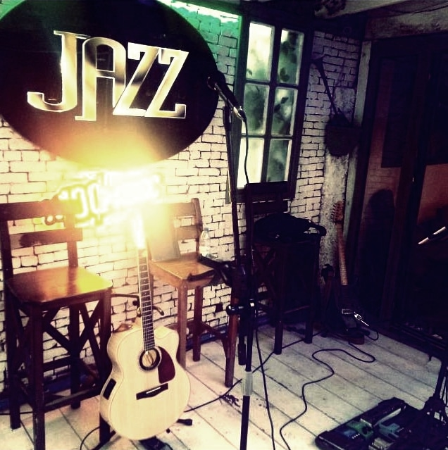 stage at jazz bar